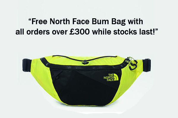 "pop up 600x400 ""Free North Face Bum Bag with all orders over £300 while stocks last!"""